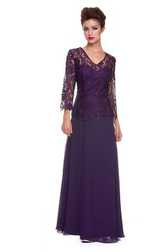 A Line Princess V Neck Chiffon Lace Mother of the Bride Dress Plus Size NX5040