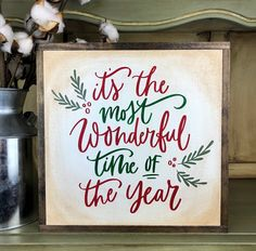 Decorate for christmas with a high quality painted framed wood sign and enjoy THE MOST WONDERFUL TIME OF THE YEAR