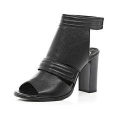 Black leather sandals - River Island