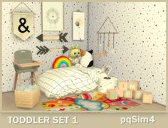 Toddler Set 1. The Sims 4 Custom Content. Toddler Cc Sims 4, Sims 4 Teen, Sims Cc, Sims 4 House Design, Sims House, Sims 4 Cc Furniture, Toddler Furniture, Around The Sims 4, Sims 4 Kitchen