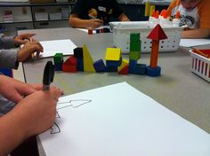 I love this idea--kindergarteners build a block structure, then draw it--great intro to observational drawing Kindergarten Art Lessons, Art Lessons Elementary, Kindergarten Curriculum, Kindergarten Drawing, 2nd Grade Art, Observational Drawing, Drawing Lessons, Preschool Art, Art Lesson Plans