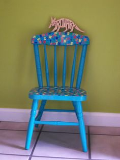 ReInvigorated Painted Wood Childu0027s Chair By AardvarkFurniture, $45.00