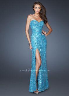 La Femme 19099 - Ocean Blue Strapless Sequin Dress, Prom Dresses 2013 - RissyRoos.com