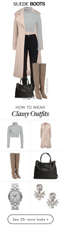 """Classy chic suede boots fall outfit"" by cherrysnoww on Polyvore featuring Boohoo, Nly Shoes, Prada, Marc by Marc Jacobs, Alexis Bittar and Judith Jack"