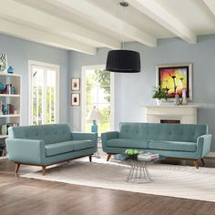 Modway Engage Loveseat and Sofa Set of 2 in Laguna