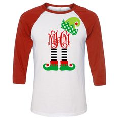 Please check our FAQ Page for current production times. This super cute monogrammed Christmas elf legs monogram graphic raglan tee is adorable! Perfect for the holiday season! Christmas Monogram Shirt, Cute Christmas Shirts, Christmas Vinyl, Xmas Shirts, Monogram Shirts, Vinyl Shirts, Christmas Elf, Christmas Ideas, Work Shirts