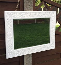 """White Mirror, Large Wall Mirror, Vintage Beveled Glass, Upcycled Carved Oak Frame, Arts and Crafts Era circa 1910, 23"""" x 18"""""""