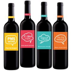 Funny Wine Labels Set of 4 4x5 inch Party Wine by GetLabeled