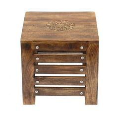 Wooden End Table for Living Room Side Table Stool for Seating - Wood Chowki Chaurang for Pooja Kitchen & Living Room Home