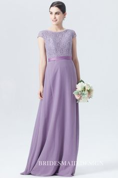 This lace and chiffon lavender bridesmaid dress comes in A-line silhouette and floor-skimming length. An appropriate V-back on lace bodice and a ribbon waistband tied on the back add allurement and elegance. Purple Bridesmaid Gowns, Cap Sleeve Bridesmaid Dress, Formal Bridesmaids Dresses, Affordable Bridesmaid Dresses, Designer Bridesmaid Dresses, Prom Dresses For Teens, Wedding Dresses, Bridesmaid Gifts, Chiffon Dress