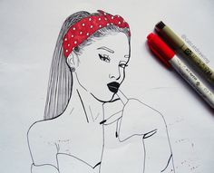 Ariana Grande. Art. Drawing. Graphic pen | Instagram: @catcatdrawing