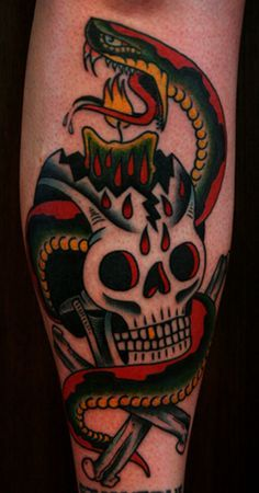 paulnycztattooer:    snake, skull, and candle by Paul Nycz