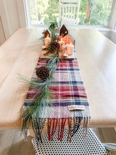 Christmas Wool Plaid Table Runner/Merry Christmas Pendelton Wool Blue Plaid, Natural Leather, Table Runners, Tablescapes, Merry Christmas, Shabby Chic, Blanket, Wool, Holiday Decor