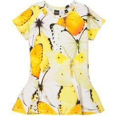 Molo Girls Yellow Butterfly Peplin 'Robbin' T-Shirt at Childrensalon.com
