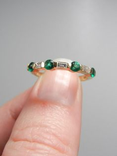 Diamond and Emerald Ring, Engagement ring, Anniversary band, May birthstone, Diamond ring, Emerald ring, 14k, yellow gold, wedding $550.00 USD