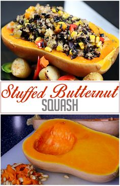 Stuffed Butternut Squash Baked butternut squash stuffed with thai black rice and quinoa. Baked Butternut Squash, Baked Squash, Black Rice, Hot Dog Buns, Quinoa, Bread, Baking, Recipes, Food