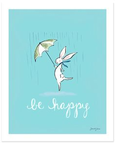 """Adorable """"Be Happy"""" art print by the very talented Sara Jane's Studios"""