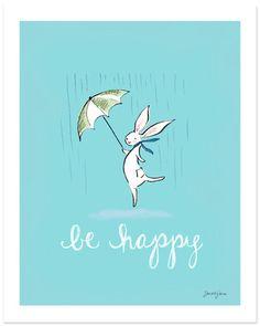 be happy  print by Sarah Jane Studios