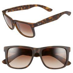 Ray-Ban 'Justin Classic' 54mm Sunglasses ($98) ❤ liked on Polyvore featuring men's fashion, men's accessories, men's eyewear, men's sunglasses, tortoise gradient, ray ban mens sunglasses, mens rectangle sunglasses, mens sunglasses, mens eyewear and mens rectangular sunglasses
