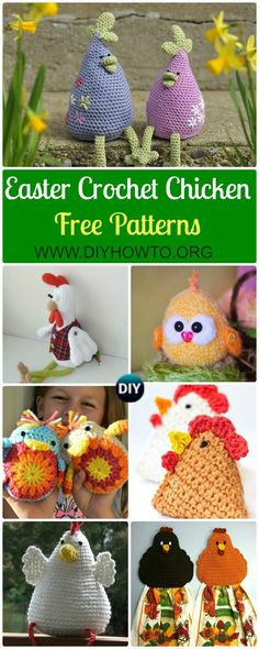 Collection of Crochet Chicken Free Patterns: Easter Chick Crochet ideas and Home Decor via @diyhowto