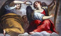 Musical angels with a cymbal and a harp, Jacopo Palma Il Giovane (1548/50-1628), italian