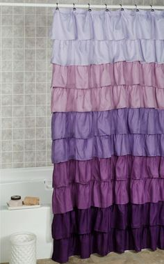 Easily give your bathroom decor a new edge with the Maribella Lavender Ombre Ruffled Shower Curtain. Fun and frilly polyester bath accent features ten ruffles. Lavender Shower Curtain, Pretty Shower Curtains, Ombre Shower Curtain, Lavender Bathroom, Bathroom Shower Curtains, Bathroom Colors, Small Bathroom, Bathroom Ideas, Bathroom Inspiration