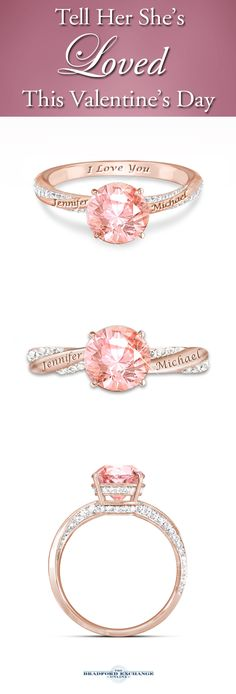 She'll have the blush of romance always close at hand! This romantic couples ring can be personalized with your 2 engraved names, perfectly complementing the sparkling 2.5 carats of Diamonesk simulated morganite and diamonds.
