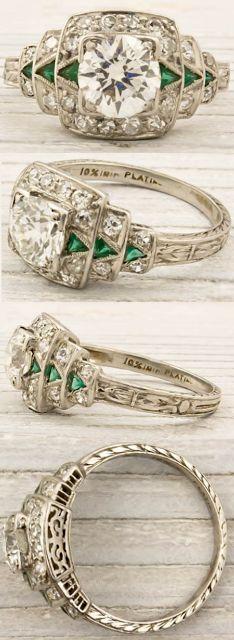 Erstwhile Jewelry Co., antique engagement rings, diamond rings, Art Deco, Edwardian, Belle Epoque, bride, bridal, wedding, princess, platinum, ribbon, twist, pave, engraving, emerald