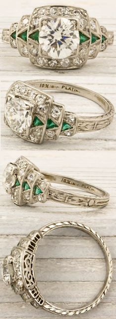 Erstwhile Jewelry Co., antique engagement rings, diamond rings, Art Deco, Edwardian, Belle Epoque, bride, bridal, wedding, princess, platinum, ribbon, twist, pave, engraving, emerald