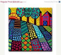 Ceramic Tile Coaster - Landscape Art - Trees Flowers Abstract Modern Folk Art Gift. $17.00, via Etsy.