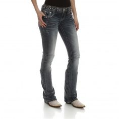 Miss Me Women's Studded Boot Cut Jeans