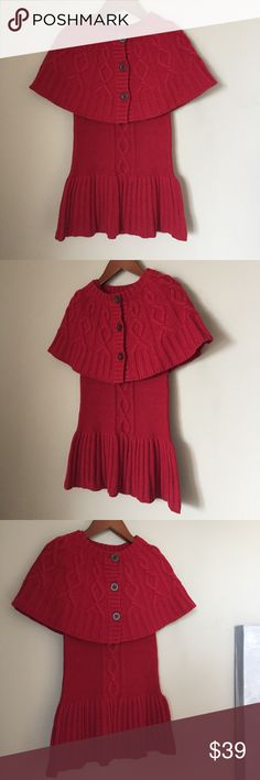 SAVANNAH knited dress and cape cable red Like new condition. Chanel Dior Zara Fendi Kenzo Prada Hermes Michael Kors Valentino Lacoste Louis Vuitton Balenciaga Alexander Wang Kate Spade Hugo Boss Burberry Prada Gucci Runway Fashion show.  Free people. Premuim Signature collection. Bundle with other items to get 15% off. Savannah Shirts & Tops Sweaters