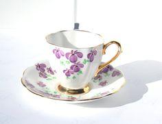 Vintage Royal Standard Bone China Purple Flower Teacup and Saucer, Handpainted, Numbered, Purple Flower Demitasse with Gold Gild,