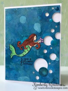 Mermaid Birthday card by Kimberly Rendino | Mermaid Crossing Stamp Set by Newton's Nook Designs #mermaid #newtonsnook