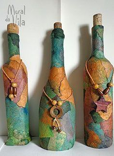 Resultado de imagen para how to fabric decoupage wine bottle Glass Bottle Crafts, Wine Bottle Art, Diy Bottle, Bottle Lamps, Recycled Wine Bottles, Painted Wine Bottles, Decorated Bottles, Bottles And Jars, Glass Bottles