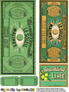 Green Vintage Le Soleil labels