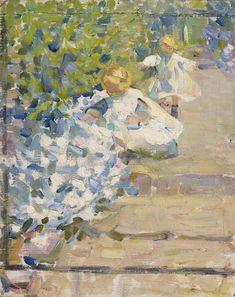Helen McNicoll, Picking Flowers, c. 1912. Oil on canvas, 94 x 78.8 cm. Art Gallery of Ontario, Toronto. #ArtCanInstitute #CanadianArt