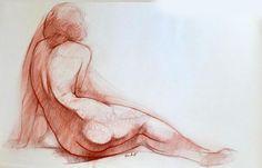 OUDOT Georges (Chaumont, 1928 -  Besançon, 2004). Nu assis de dos.