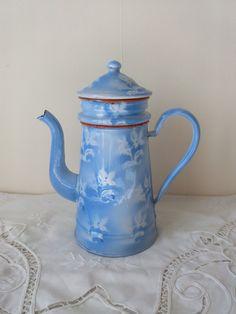 Delightful Blue and White Enamel Coffee Pot by TresorsDesPyrenees