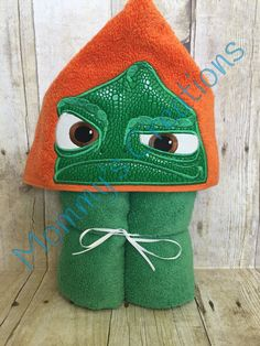 "Grumpy Chameleon Applique Hooded Bath Towel, Beach Towel Cover Up 30"" x 54""  Personalization Available by MommysCraftCreations on Etsy"