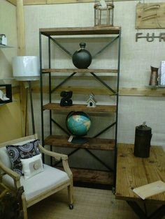 Industrial Inspired Bookcase with Open Shelving by aTICOfURNITURE, $450.00