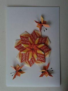 Witte kaart met rooibos bloem en kleine vlindertjes / origami / theezakjes vouwen / teabag folding card