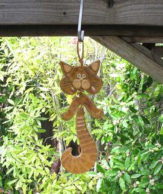 Ceramic Cat Hanging Mobile  Clay Wall Hanging  by SallysClay