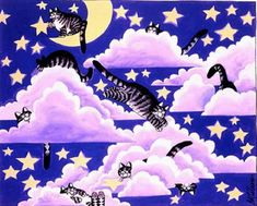 Many cats paintings. Bernard Kliban.