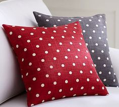 Red Polka Dot Pillow Cover. Cute for Christmas & Valentines Day.  #potterybarn