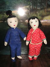 2 Vintage Chinese cloth dolls boy and girl hand embroidered faces CUTE