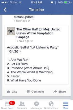 Set list for LA listening session
