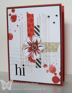 handmade greeting card from Love To Stamp ... grunge splats and marks ... red, white and black ... crossed strips of washi tape form the focal point base ... stamped and cut flower ... luv the organized chaos ... great card ...  Stampin' Up!