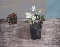 Elaine Pamphilon  motoko's jug and white hellebore    mixed media on wooden panel  40 x 50 cm