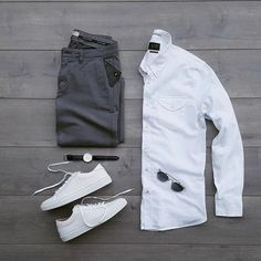 Outfit grid - White sneakers | Daily Ideas for men!